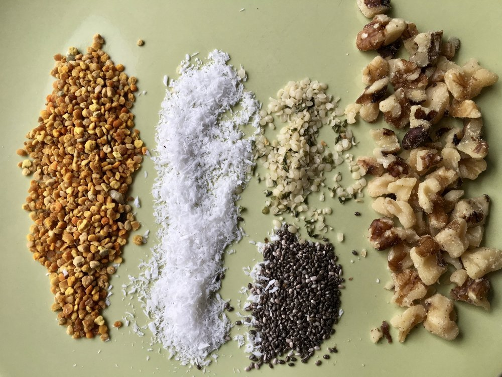 Energy Bite add-ins: bee pollen, unsweetened coconut flakes, hemp hearts, chia seeds, walnuts