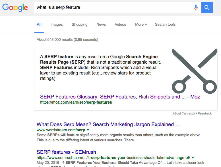 An example of a featured snippet, displayed above organic search results.