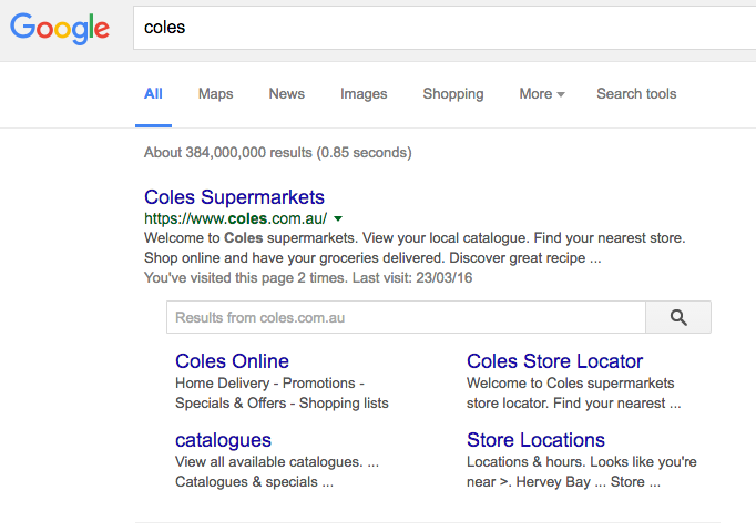 An example of a site links search box, easily directing you to other popular pages of a website.