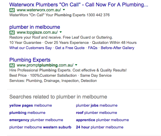 An example of an Adwords campaign displayed at the bottom of SERPs.