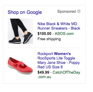 Shop ads as displayed in the SERPs.