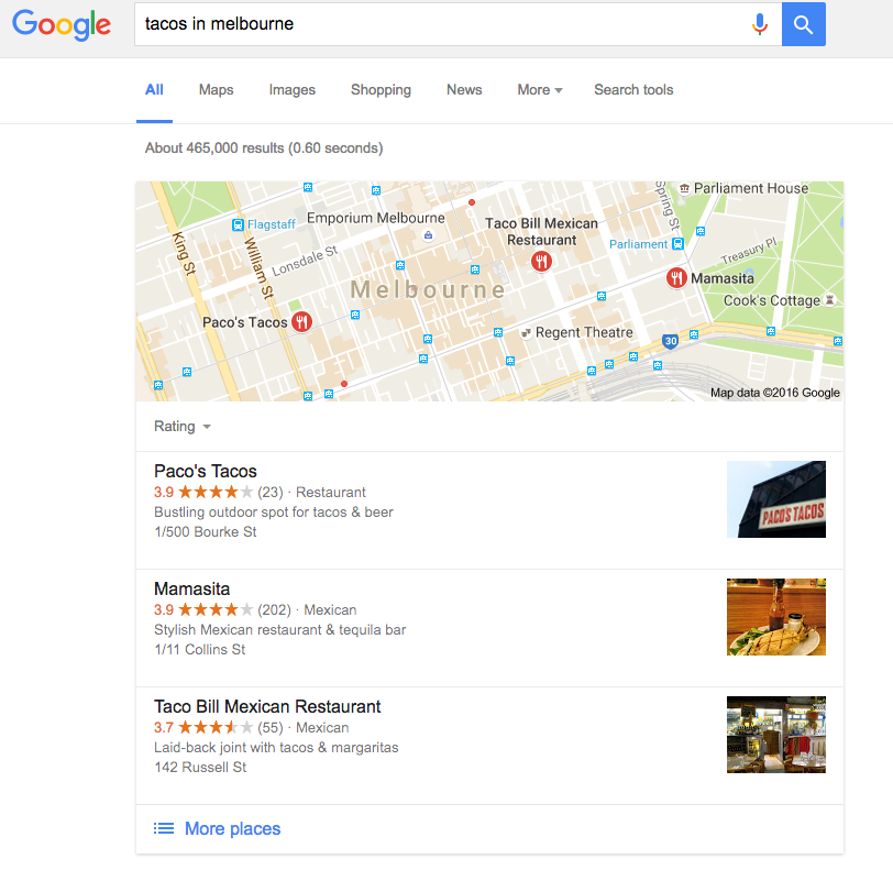 An example of a lack pack as a SERP feature.