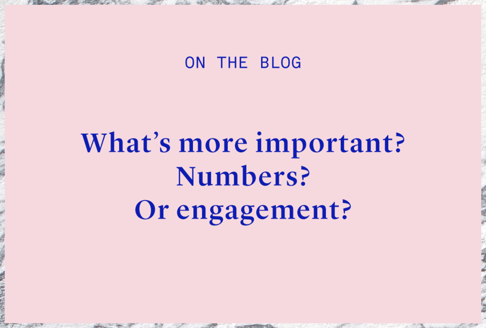 Numbers? Or social media engagement?