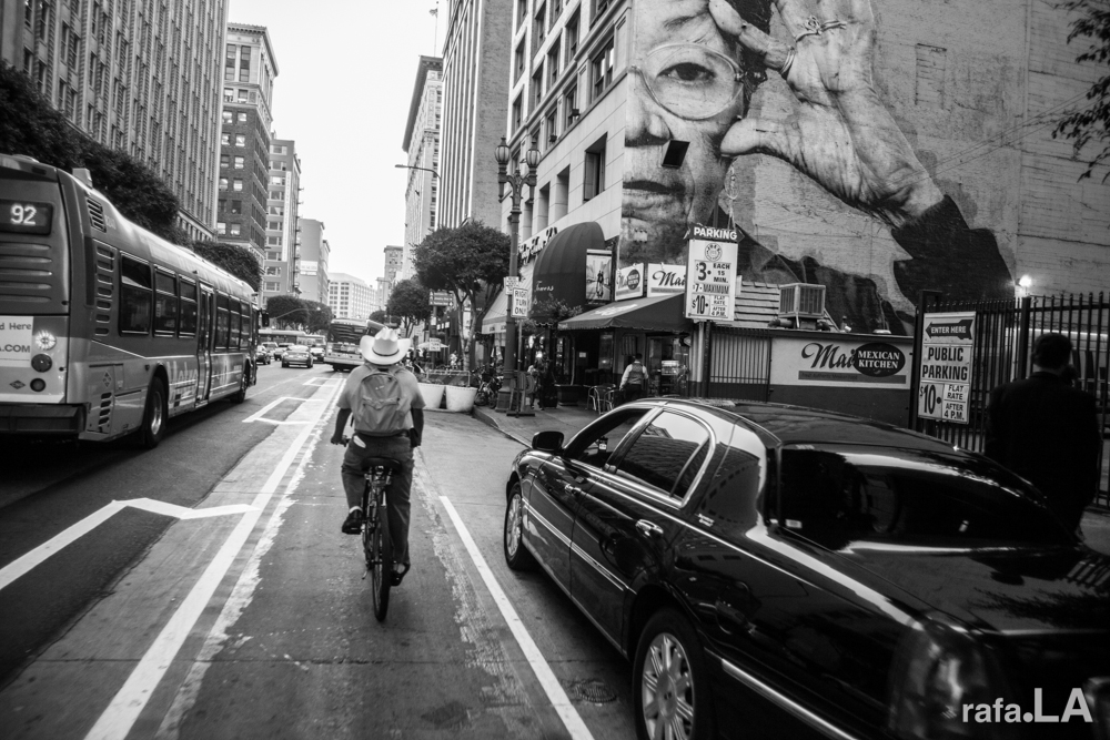 Our Lady of the Spring Street Bike Lane  October 22, 2013 - Spring Street, Downtown Los Angeles