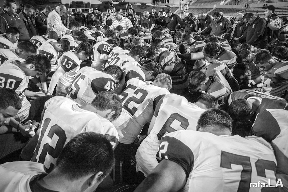 Post Game Prayer.  November 01, 2013 - East LA College, Monterey Park