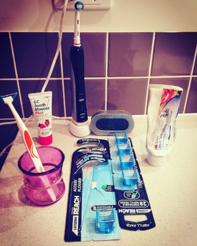 A Dentist's best of the best:  What's at home  Oral B Black with smart guide  2 minutes at night   Reach access flosser  and refills nightly   Clinpro tooth crème Vanilla Mint by 3M daily   occasional use of GC Tooth Mousse in strawberry flavour