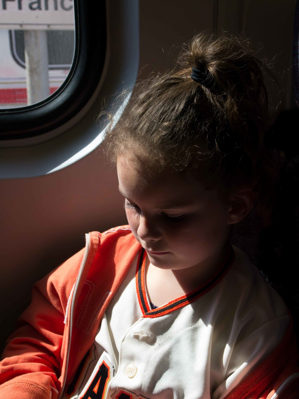 I just loved how the light was shining through the train window.