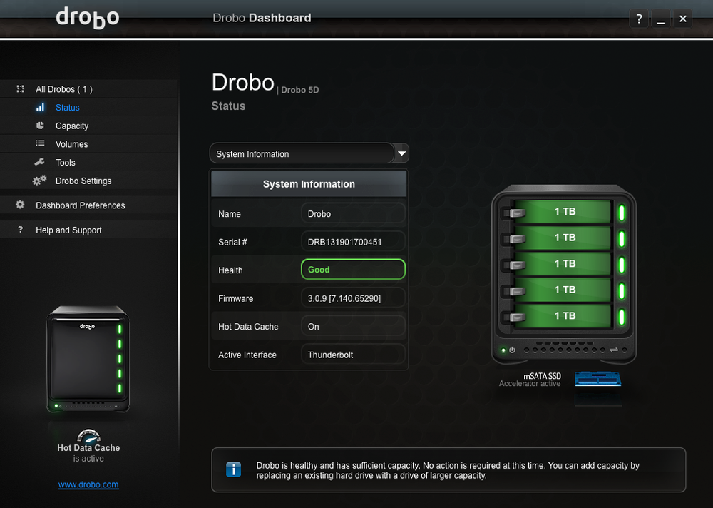 Here is an image from my Drobo dashboard.  It tells me the health and capacity of my drives and I have control over the whole unit from this screen.