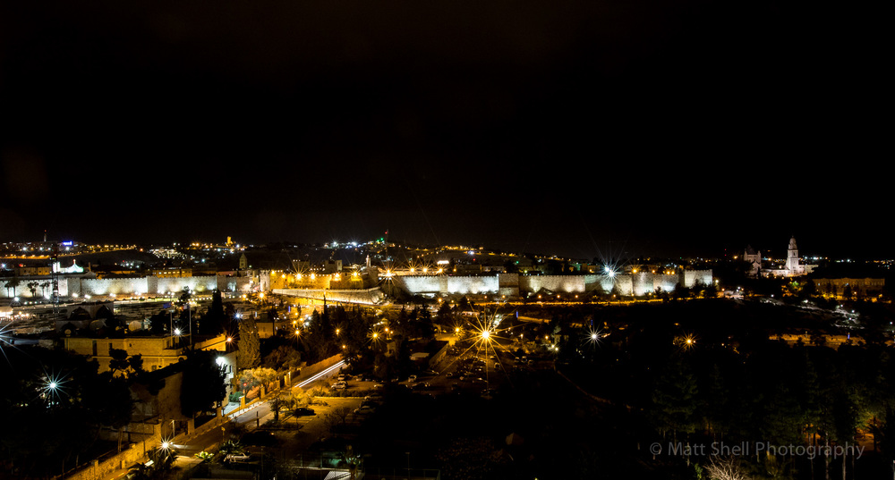 Shot of the Old City at night.