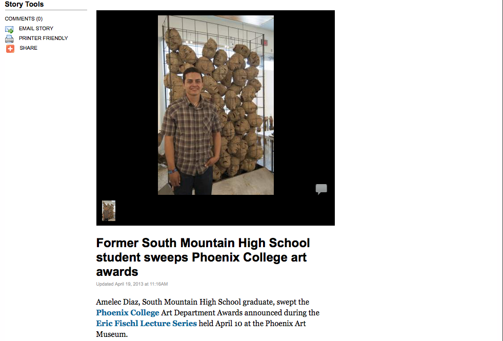 "Arizona Newzap. April 2013, ""Former South Mountain High School student sweeps Phoenix College art awards"""