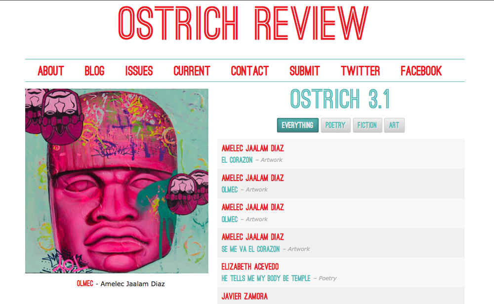 Ostrich Review 3.1, an online journal of poetry, storytelling, and art.