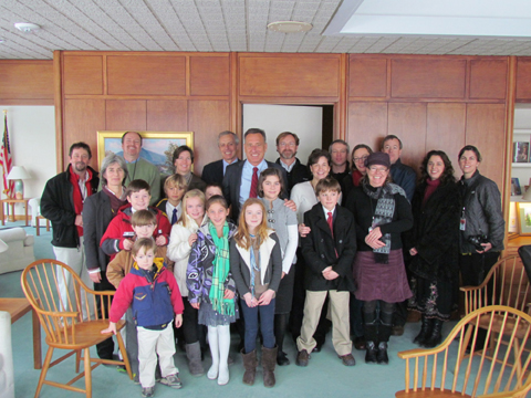 Students from Maple Street School performed at the opening of the State Legislature last week. with Gov. Peter Shumlin, center, and Rep. Jeff Wilson (back row) are Audrey Anglum, Graham Bowen, Carrigan Boynton, Austin Gras, Madison Greene, Katie Kelly, Nicholas Kristiansen, Ethan Senecal. They were joined by parents and their teacher, Amy Panitz, and composer Sandy Wilbur. (submitted photo)