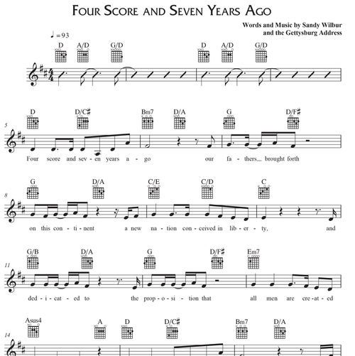 Four Score and Seven Years Ago - Leadsheet With Guitar Tabs PDF ...