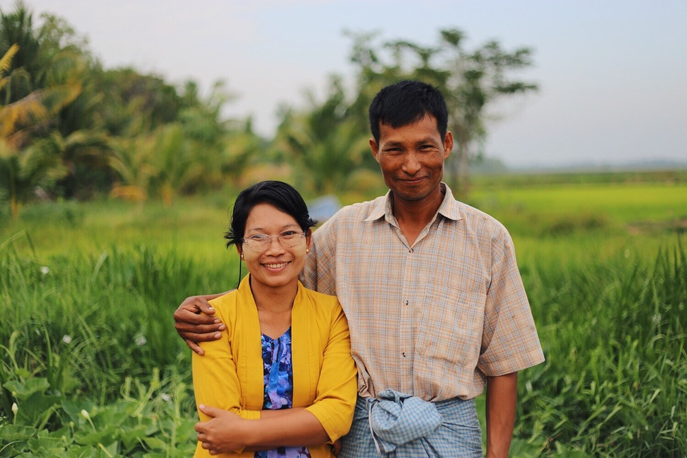 Tint Lwin, a farmer in Myanmar's rural Irrawaddy Delta outside Bogale township, is pictured again with his wife.