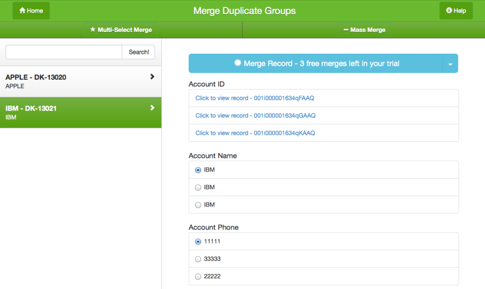 Easily see all your fields, so you can merge quickly and with confidence.