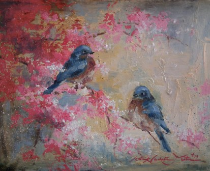 Bluebirds in the Blossoms