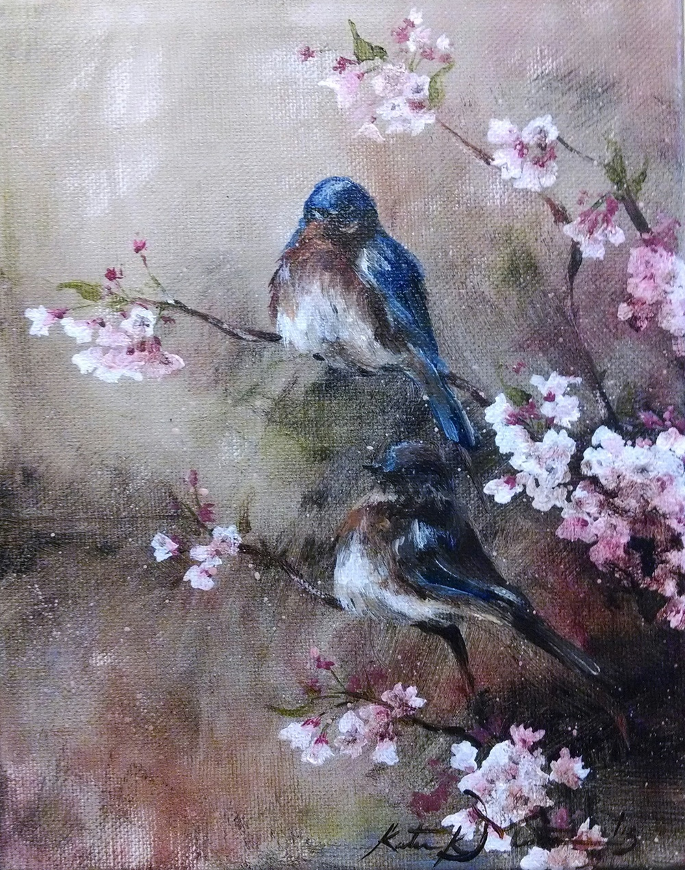 Bluebirds in Blossoms