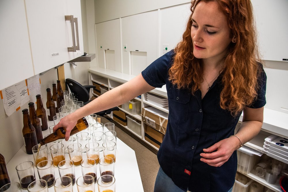 Lily Flynn, Biology '19, works as a sensory lab co-op at the Boston Beer Company.