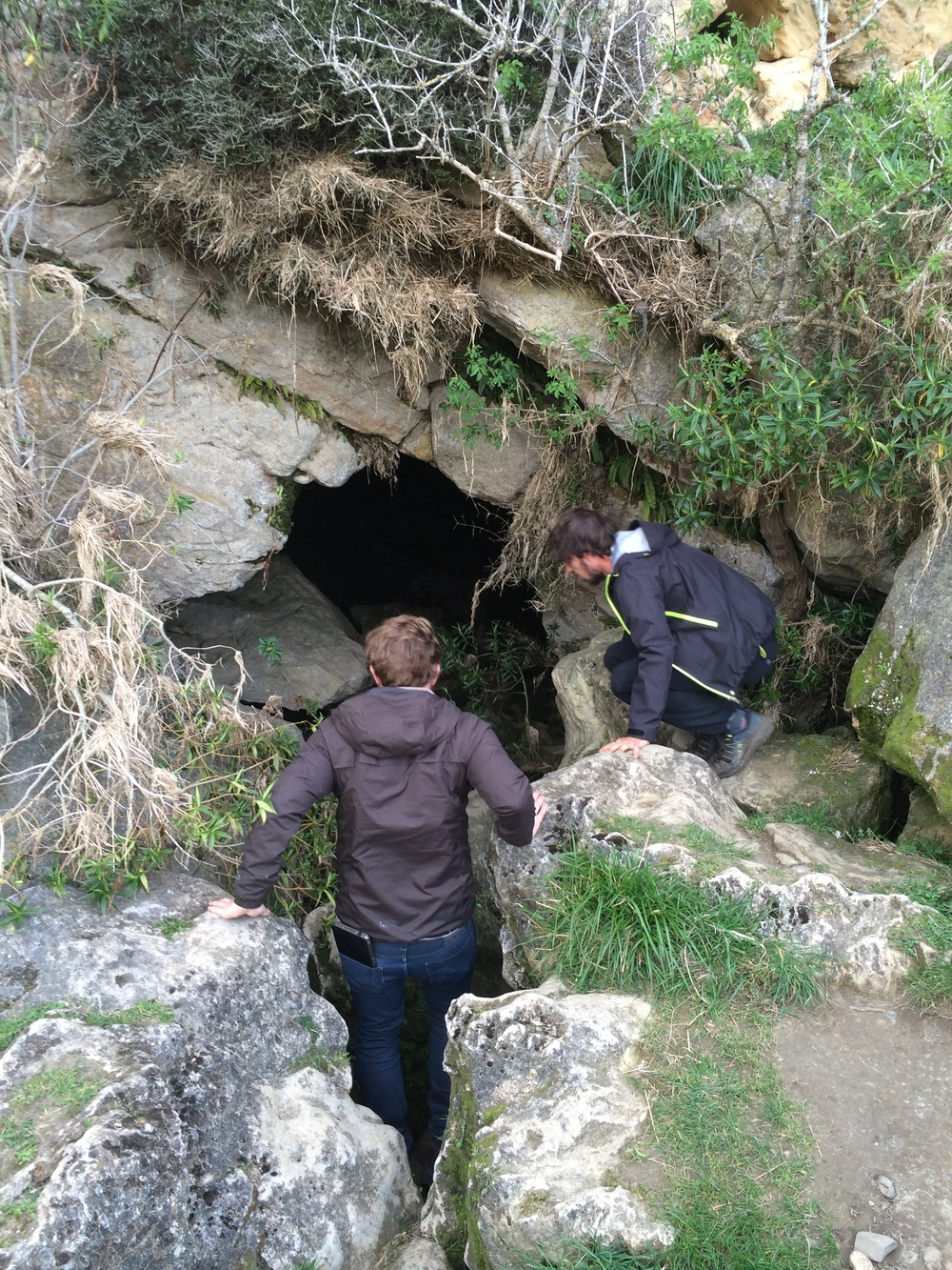 Max & Anatol investigating the entrance to the Limestone Caves