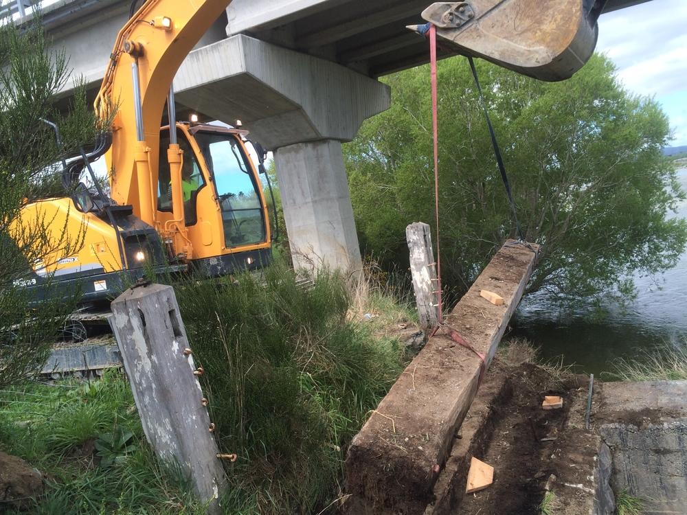 We helped Karl retrieve some 100 year old bridge beams from up the street