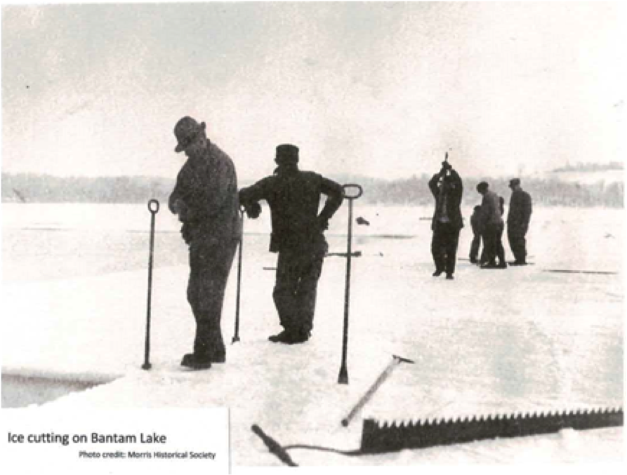 Men with tools on Bantam Lake.  Courtesy Morris Historical Society