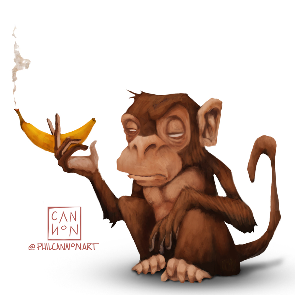 Chimp Smoking a Banana