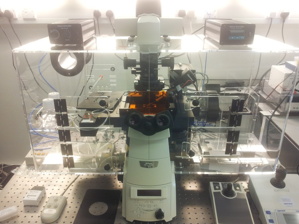The Nikon Eclipse Ti inverted microscope with additional imaging detectors (sCMOS and confocal) contained with an incubation chamber for cellular imaging.