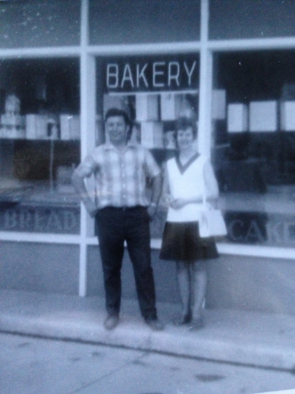 Joe and Evelyn in front of the Golden Bakery, 1971.