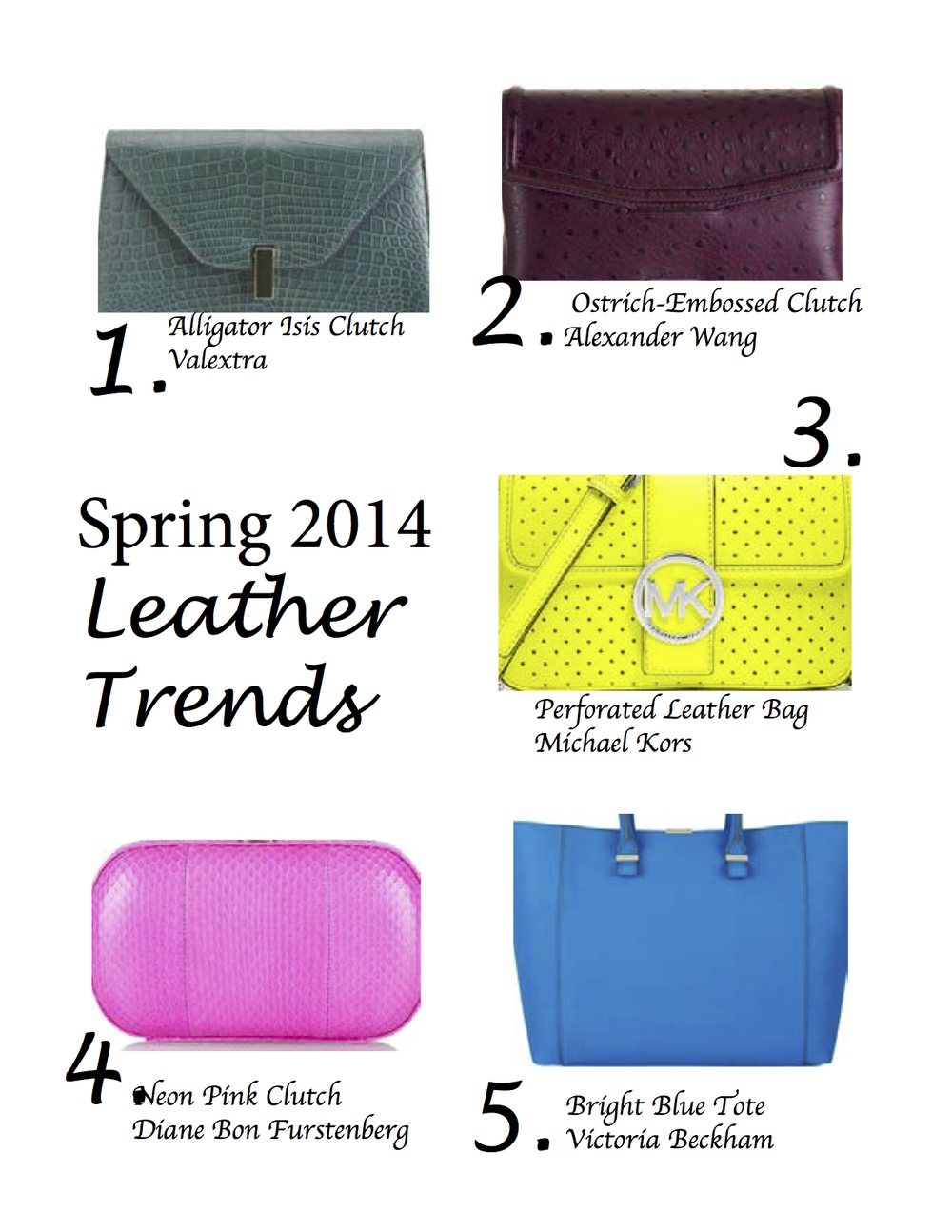 7242da8a50b8 SS 2014 Leather trends from designers we love. — The Fashion Handbag Factory