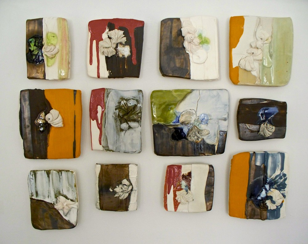 "Pieced Sampler: 'new appliqué', stoneware, porcelain, colored slips, glazes, glass, oxides 36"" x 20"" (dimensions variable), 2009"