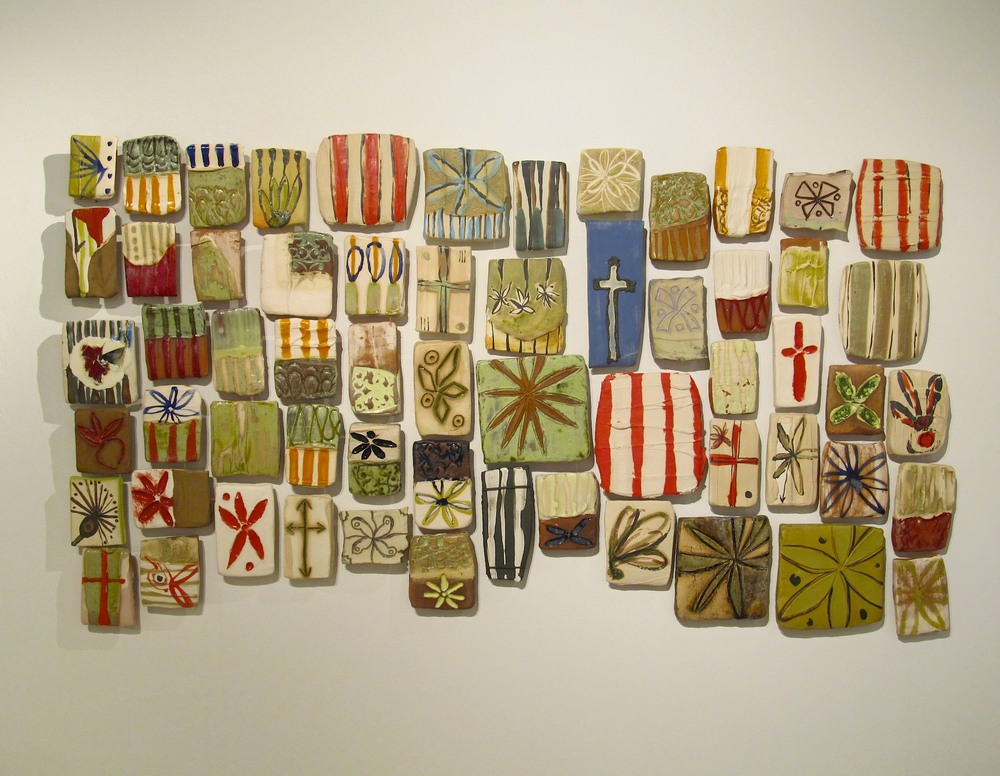 Pieced Tile Quilt: 'antebellum recollection № 2', 3.5' x 5.8' (dimensions variable) terra cotta, stoneware, glass, colored slip, glaze, 2012