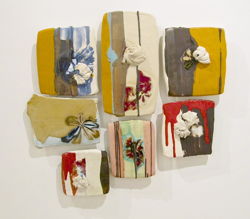 "Pieced Sampler: 'saved appliquè', 18"" x 20"" (dimensions variable), porcelain, glass, colored slip, glaze, black clay, 2012"