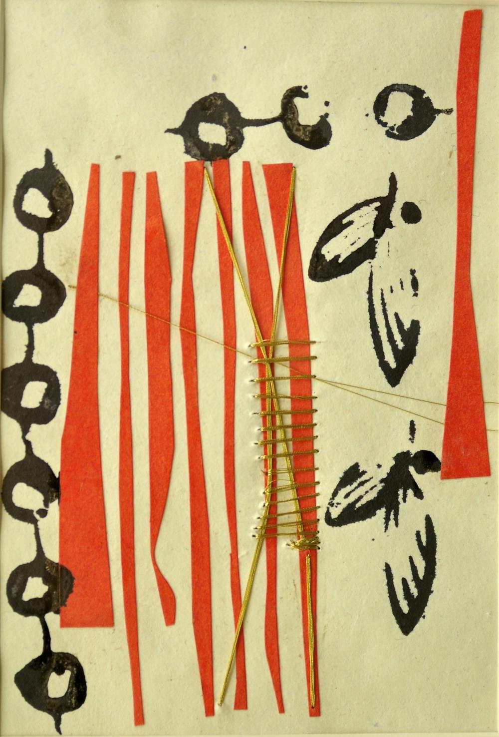 "'Benarsi silk thread and lane', handmade paper (Jaipur), silk thread, block print, collage, 14"" x 6.5"", 2013"