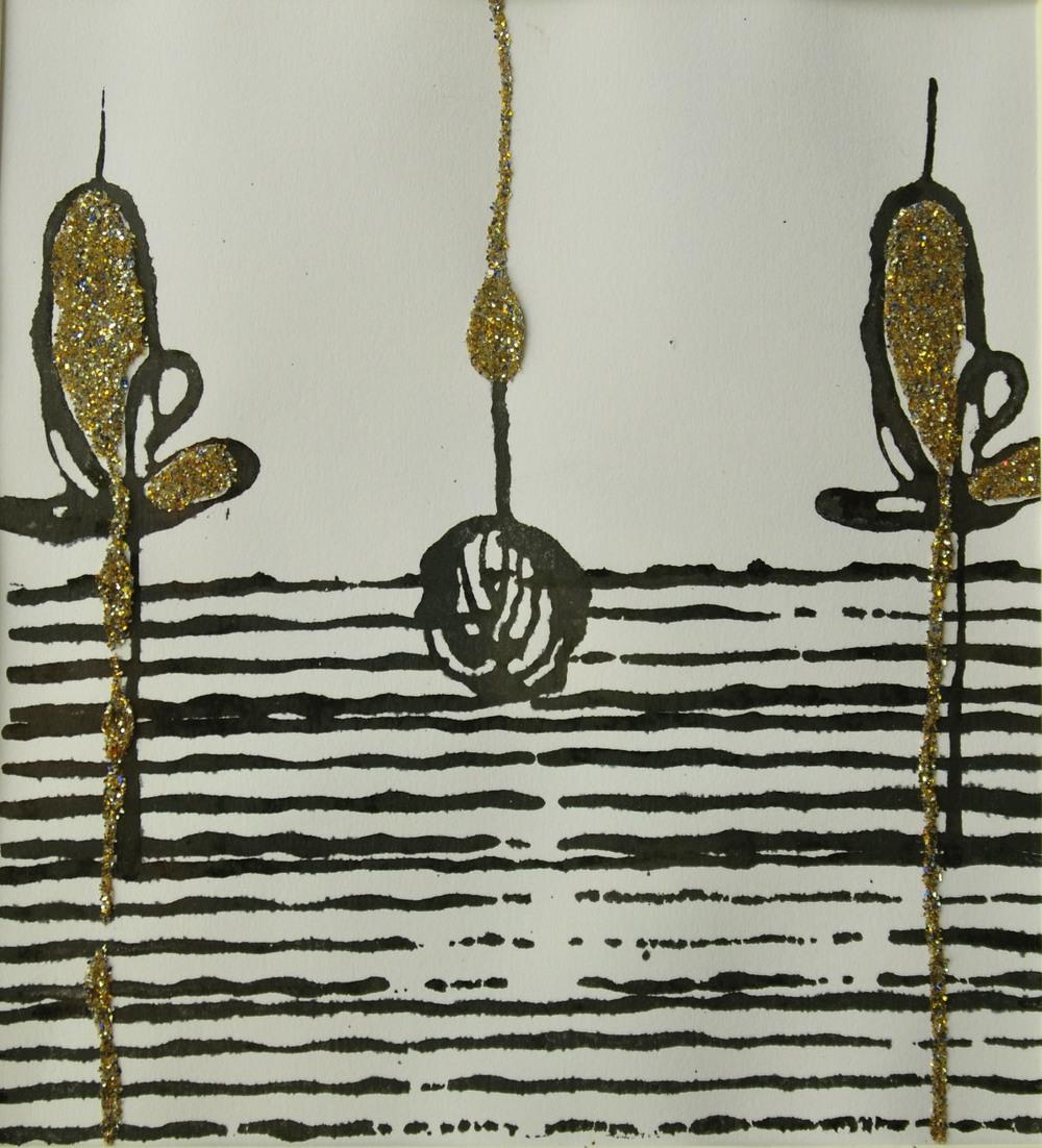 "'Ganga glitter at night', handmade paper (Jaipur), block print, ink, glitter, 8.5"" x 7.75"", 2013"