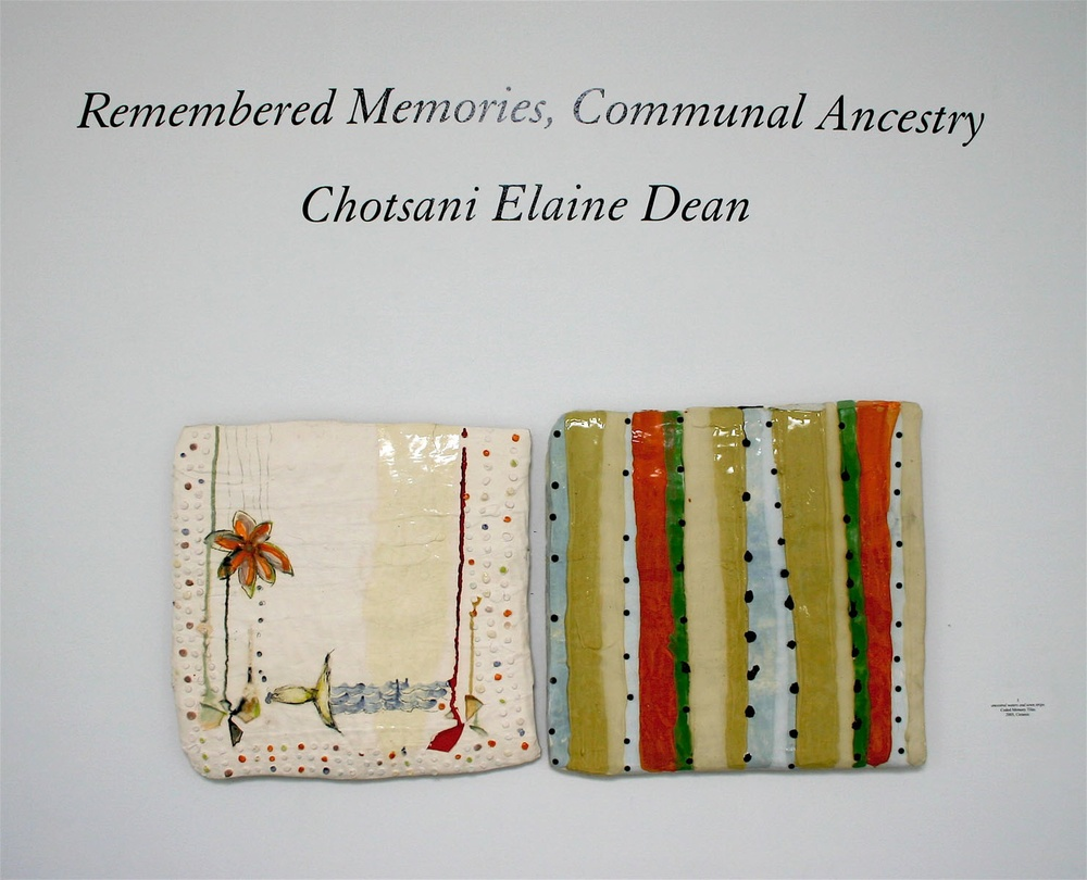 "Coded Memory Tiles: 'ancestral waters, sewn strips'  stoneware, colored slips, glass, nails, 43"" x 23"", dimensions variable, 2007"