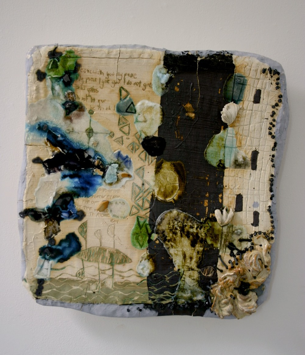 Coded Memory Tile: 'don't tire weary traveler', ceramic, glass, glaze, oxides, nails, cone 04 oxidation, 2004