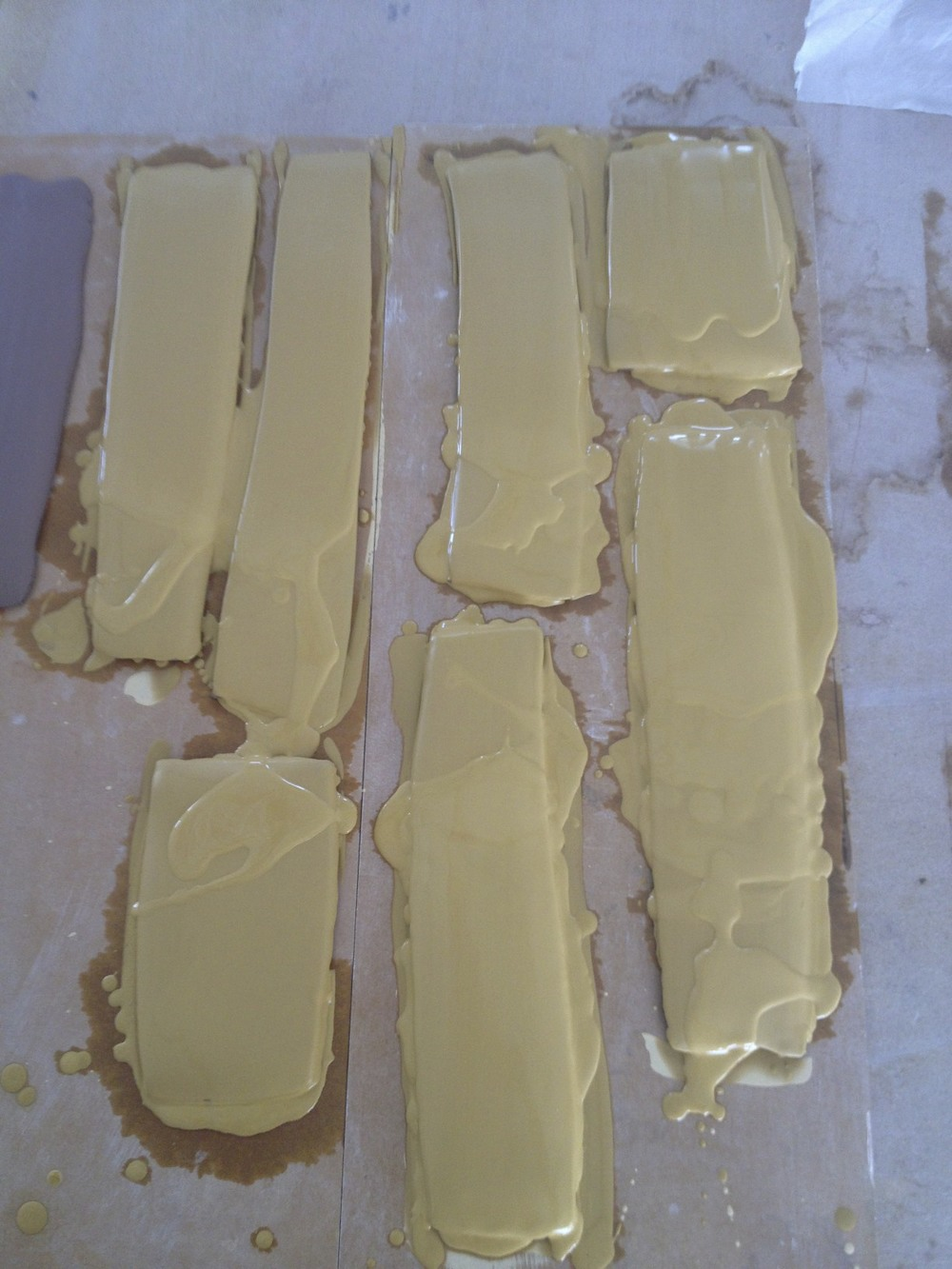 ...yellow ochre slip on long/strip tiles.....