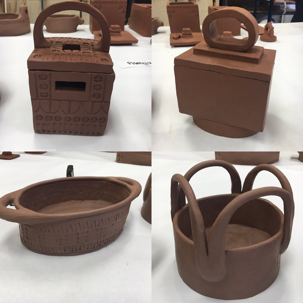 Ceramics 1 Hand Building Student Work - Greenware, Pre-Bisque Fire, Earthenware