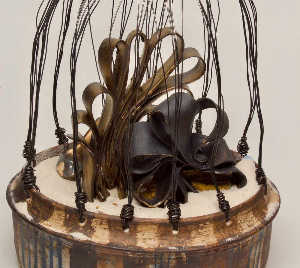 "Detail - 'the prayer to and word from God, when Isabella Baumfree changec her name' (c. 1979 - 1883), Stoneware, Porcelain Paper Clay, Silica Sand, Wire, 14"" x 7.5"" x 4.5"", 2018"