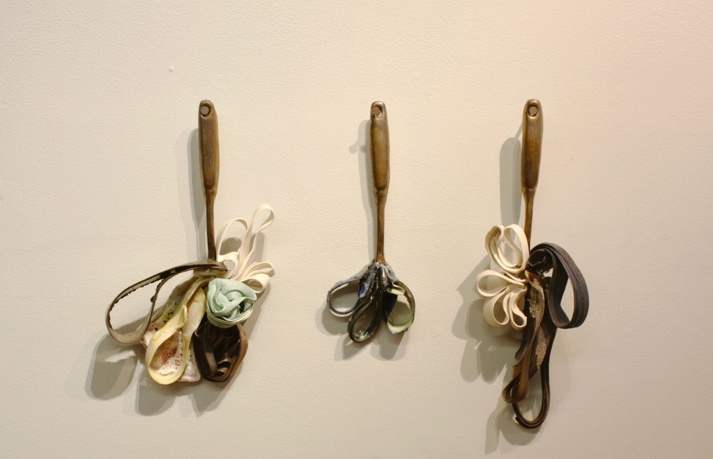 "Memory Spoons no.1: 'Georgia Gilmore and the Club from Nowhere' Slip-cast Porcelain, Porcelain Paper Clay, Glass, Silica Sand, Cone 6 Oxidation, 12"" x 3"" x 2.5"" (dimensions variable), 2018 - Chotsani Elaine Dean"