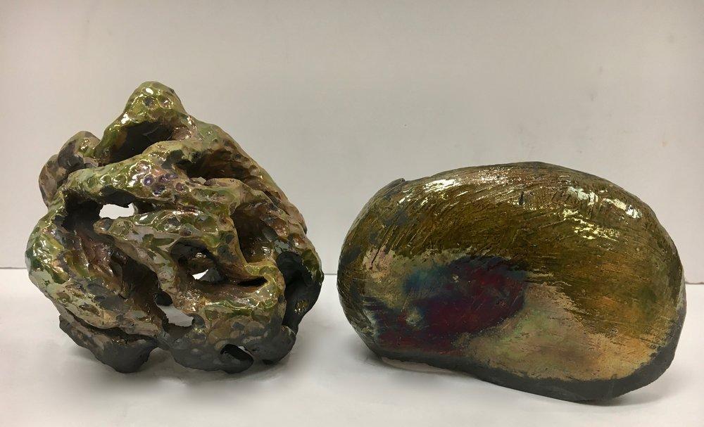 Ceramics 1 Hand Building Student Work - Earthenware, Raku Firing