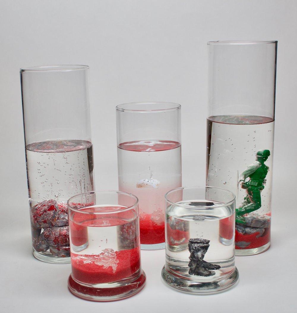 Sculpture 2 - Ceramics and Digital Technologies - Student work - PlA 3d printer, Encapso-K, paint, glass