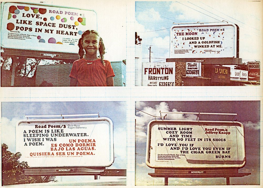 Jeffrey Knapp's poetry billboards from 1979