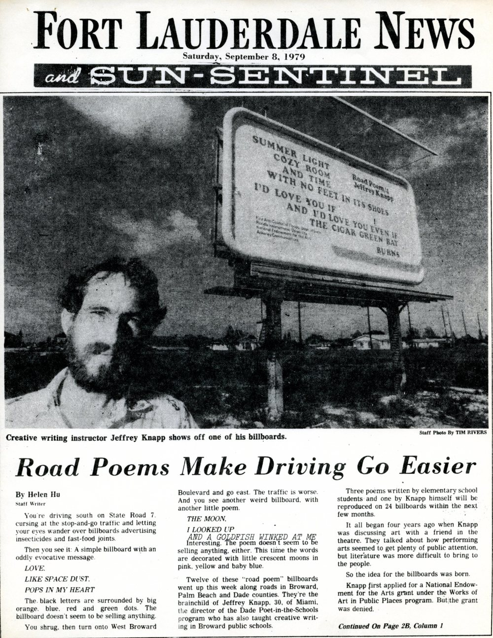 "Sun-Sentinel coverage of ""Road Poems"", a 1979 project by Miami poet Jeffrey Knapp"