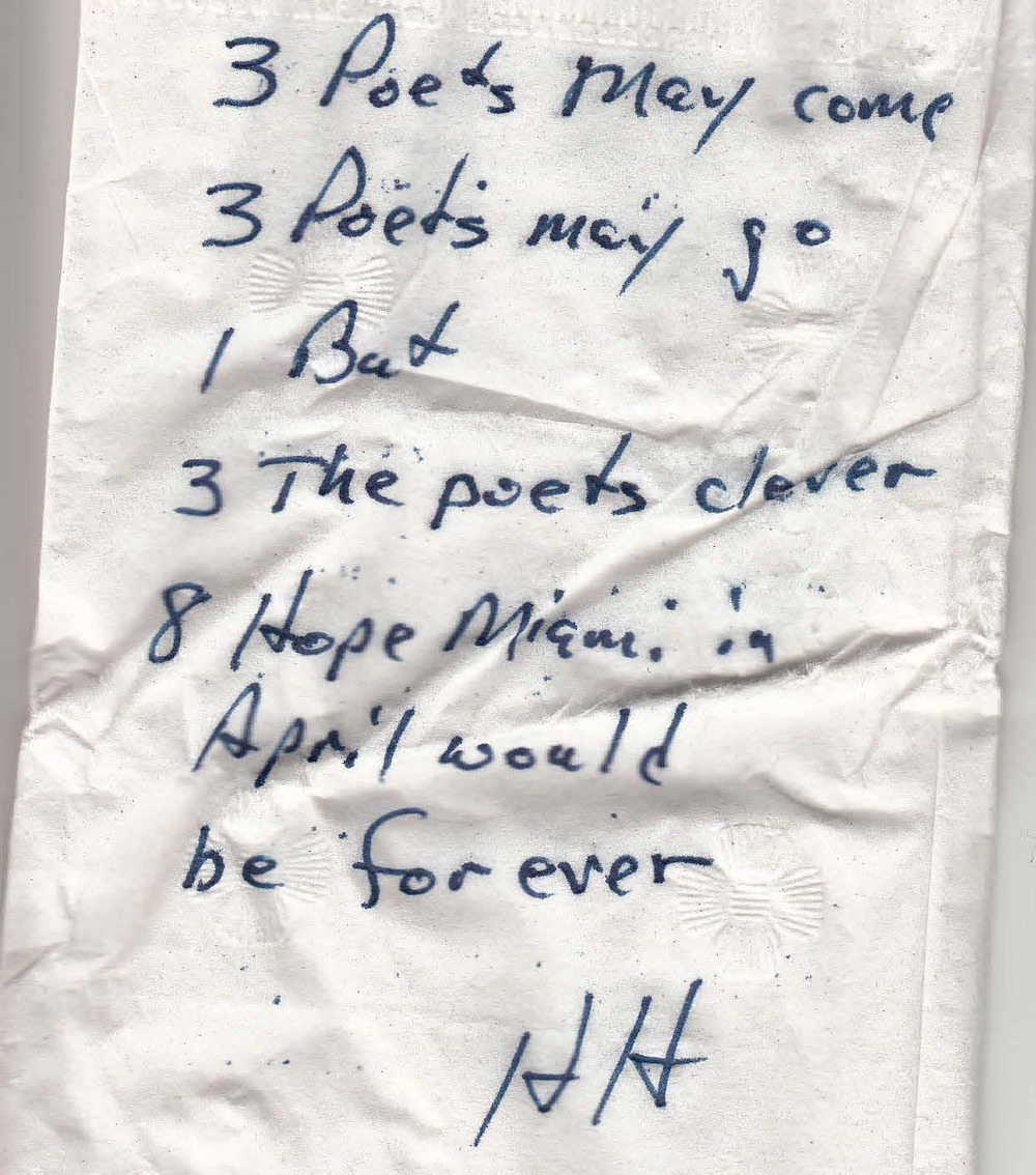 Zip Ode on a napkin submitted by New World Symphony President, Howard Herring