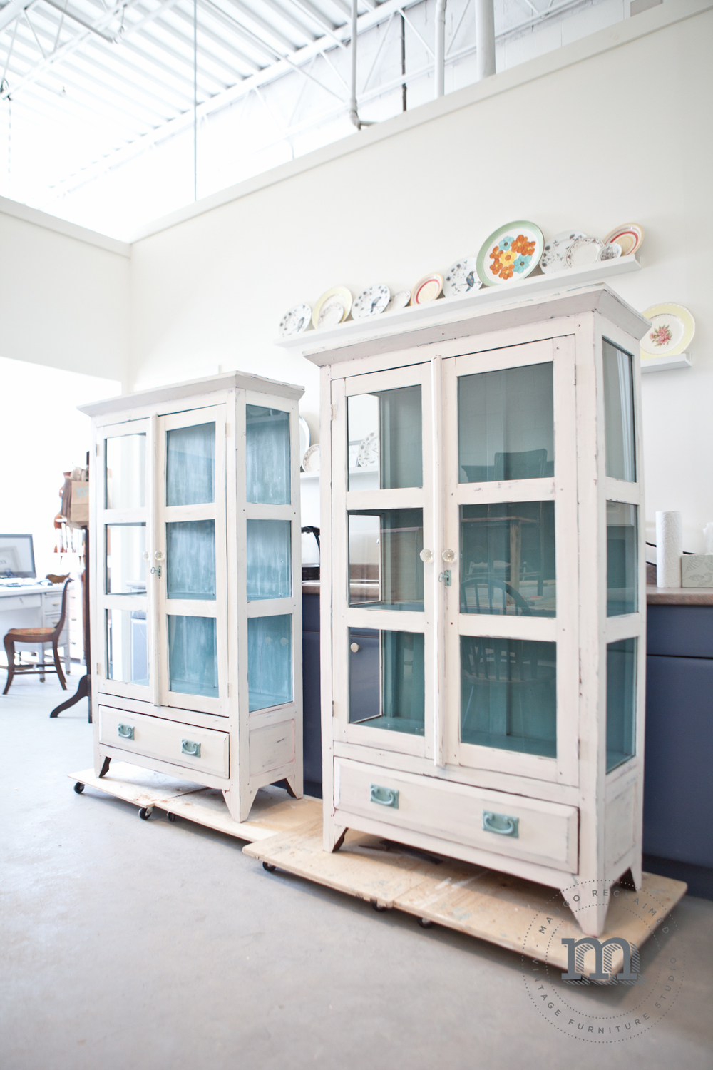 van Gogh painted glass cabinets. I love the way this paint gives a soft distressed finish.