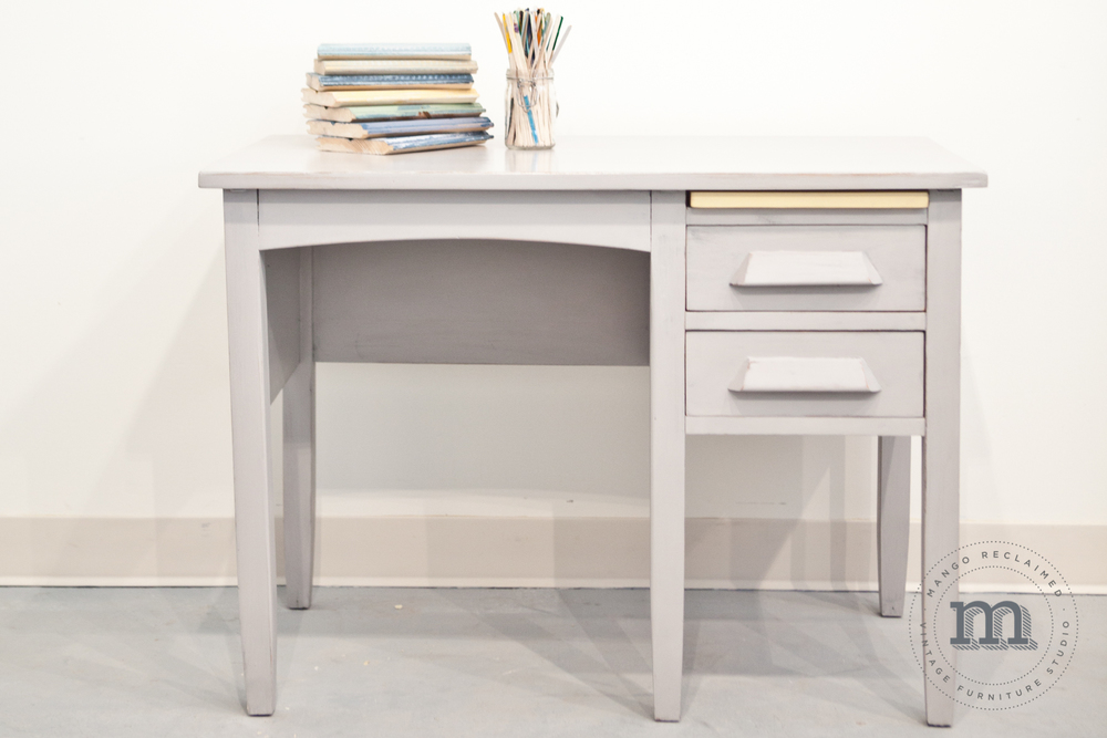 This restyled girls desk is chalk painted in van Gogh 'Chivalry'.