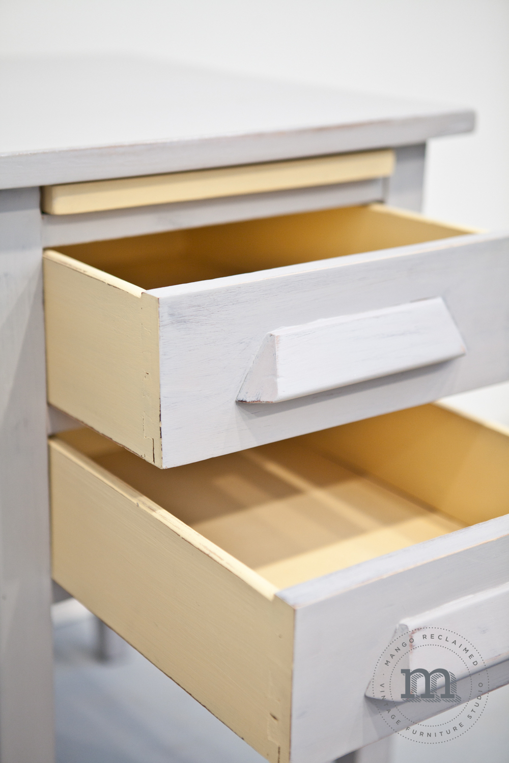 Painting the outsides of the inside drawers completes the look.