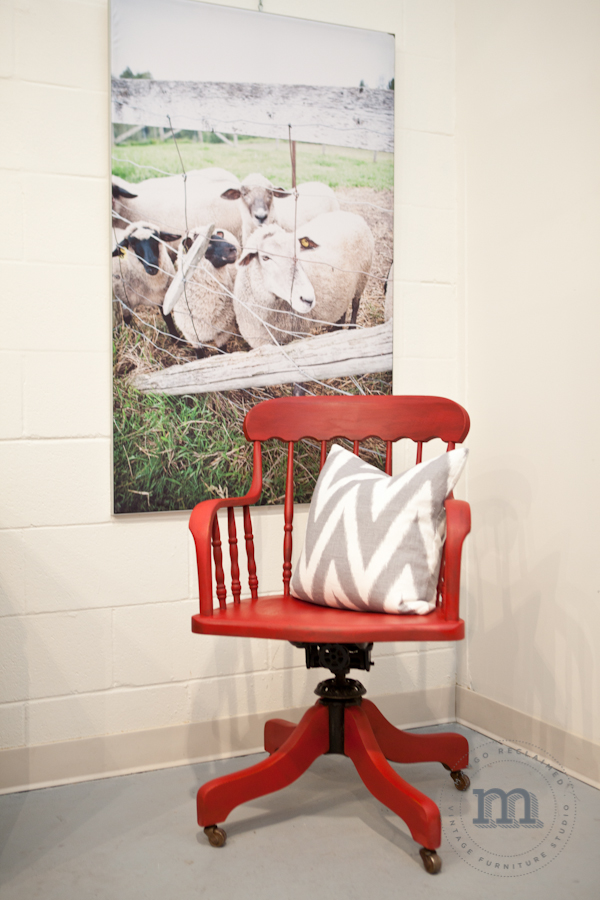 Speaking of Tricycle red - here is a milk painted chair painted by yours truly. See more  here .