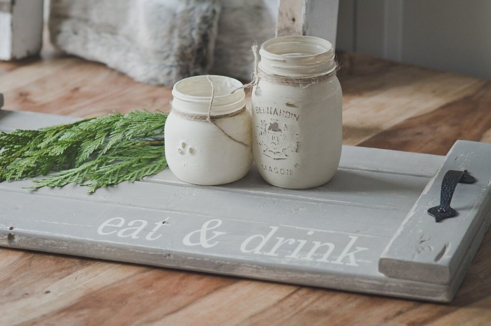 Fusion Mineral Paint table tray and mason jars - Friday April 21st, 1-3:30pm!